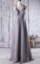 Long Charcoal Grey Straps Chiffon Bridesmaid Wedding Gown Dresses with B... - $95.00