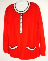 C D Petites Women's M Red Black popover Holiday Sweater Top Fall Career ... - $15.11