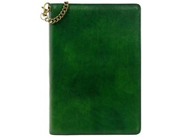 GREEN LEATHER JOURNAL WITH REFILLABLE A5 NOTEPAD - THE DIARY OF A NOBODY  - $73.00