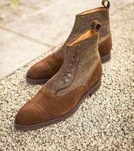 Handmade Men's Brown Suede And Tweed Two Tone Buttons Boots image 4