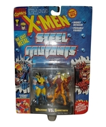 "X-MEN STEEL MUTANTS ""WOLVERINE VS SABRETOOTH DIE CAST ACTION FIGURES 1994 - $24.95"