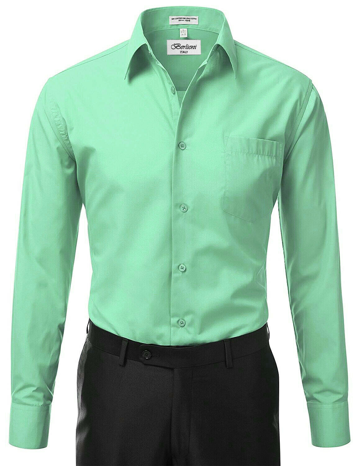 Berlioni Italy Men Mint Classic French Convertible Cuff Solid Dress Shirt - XL