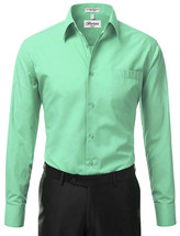 Berlioni Italy Men Mint Classic French Convertible Cuff Solid Dress Shirt - XL image 1