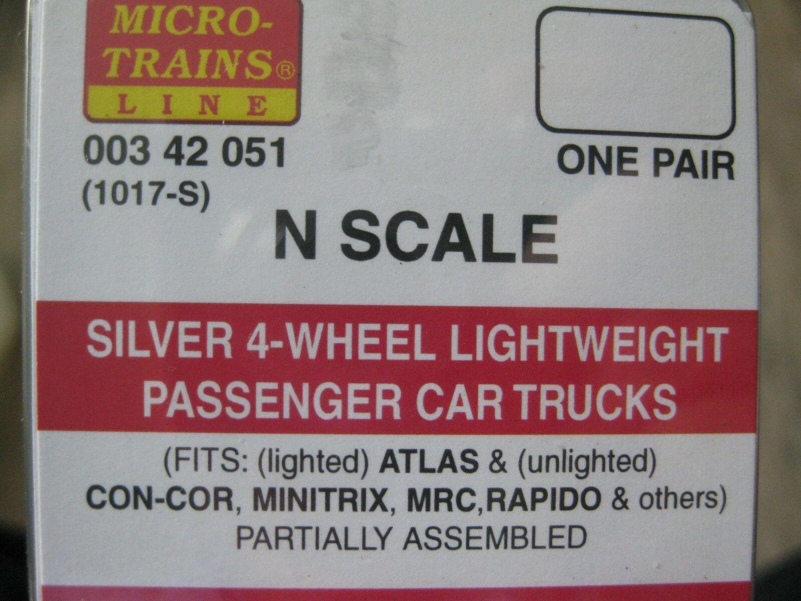 Micro-Trains Stock #00342051 Silver 4-Wheel Lightweight Passenger Car Trucks (N)