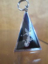 Sterling Silver Bracelet Charm  SIAMESE DANCER Niello Pyramid   Vintage 3D - $54.45