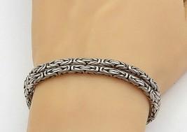 925 Sterling Silver - Vintage Double Strand Byzantine Link Chain Bracele... - $85.94