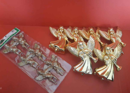 12 Vintage Ornaments: 6 Gold Plastic Angels  & 6 Misco Cherubs by Countr... - $6.44