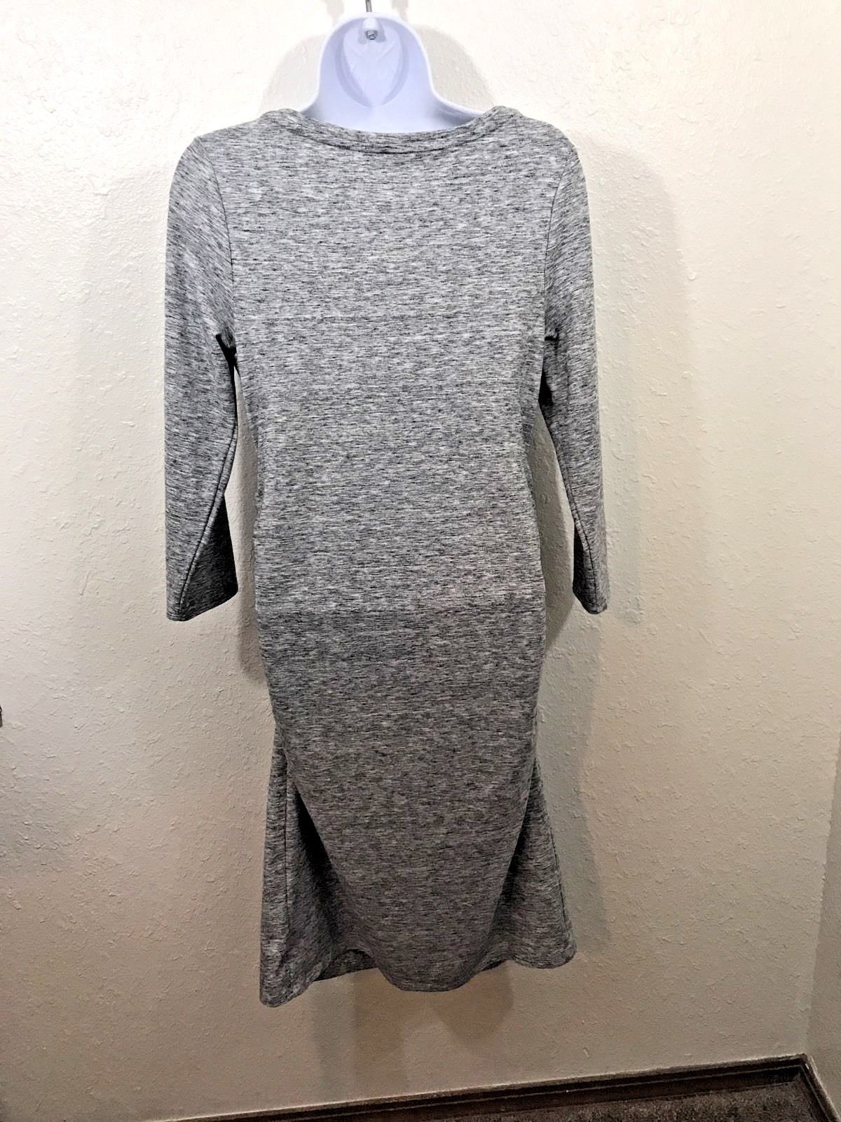 Liz Lange Maternity Dress Womens Size Medium Rouched Sides Gray Casual Stretchy