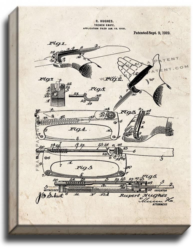 Primary image for Trench Knife Patent Print Old Look on Canvas