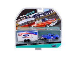 2004 Ford F-150 Pickup Truck #15 Blue and Car Trailer Tow & Go 1/64 Diecast Mod - $25.25