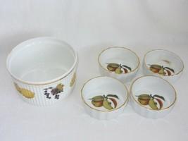 Royal Worcester Evesham Souffle Dish + 4 individual Dessert Quiche Bowls... - $39.59