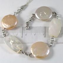 Bracelet en or Blanc 750 18K, Perles et Pêche Lavande A Disque, Nacre - $785.80
