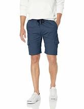 BROOKLYN ATHLETICS Men's Cargo Slim Fit Multi Pocket Stretch Twill Short, Navy,  image 1