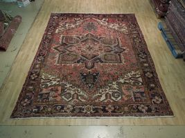 8x11 Red Heriz Wool Handmade Rust Worn-out Antique over 100 y o Persian Rug image 4