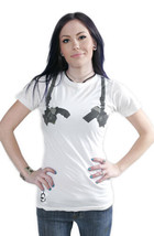 Cardboard Robot Women's Washed White Gun Shoulder Holster Strapped T-Shirt NWT image 2