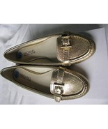 Michael Kors Metallic Gold Leather Loafer Flat Shoes Size 6.5 NEW - $78.21