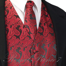 BLACK RED XS to 6XL Paisley Tuxedo Suit Dress Vest Waistcoat & Neck tie ... - $21.76+