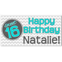 Teal and Gray Chevron Sweet 16 Sixteen Birthday Party Banner - $23.88