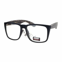 Clear Lens Glasses Square Soft Matted Wood Print Unisex Eyeglasses UV 400 - $10.95
