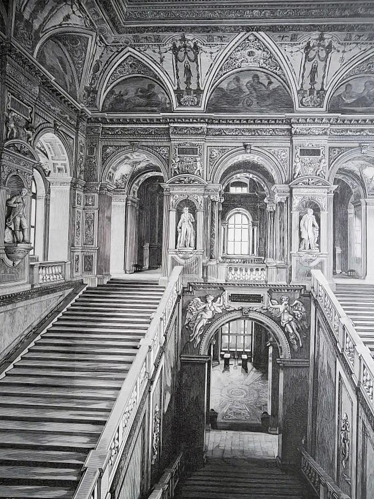 VIENNA Austria Natural History Museum Monumental Staircase - VICTORIAN Era Print