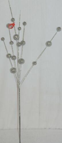 Unbranded CSBRY804 Glittery Silver Ball Holiday Spray Decoration