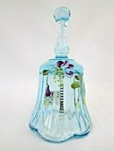 Fenton Art Glass Hand Painted Signed Small MINI Bell Light Blue Artist C... - $24.75