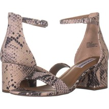 Steve Madden Irenee Heeled Ankle Strap Sandals 010, Natural Snake, 7 US - $31.67