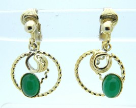 VTG Gold Tone Jade Jadite Colored Glass Cabochon Flower Clip Earrings - $19.80