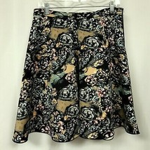 FOR CYNTHIA Sz S Black Muted Floral Print Exposed Side Zipper Swing Skirt - £11.18 GBP