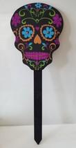 Sugar Skull Wooden Stake Halloween Decoration Purple Glitter Dia de los ... - $503,33 MXN