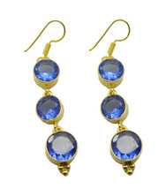 Blue Gold Plated Fashion adorable Blue Shappire CZ suppiler Earring AU gift - $8.33