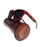 Red Burnt Bamboo Sunglasses With Wood Case, Stars and Bars, Polarized - $40.00