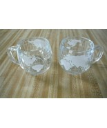 Set Of 2 Nestle World Globe Etched Frosted Glass Coffee Tea Cocoa Cups M... - $12.38