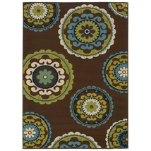 7'10 x 10'10 Outdoor/Indoor Area Rug in Brown Teal, Green Yellow Circles - $463.28