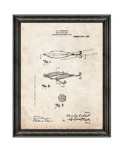Fish Bait or Lure Patent Print Old Look with Black Wood Frame - $24.95+