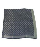 Louis Vuitton monogram Blue Silver shine shawl weaved jacquard silk M73658 - $513.81