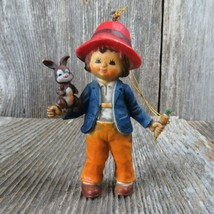 Vintage Boy with Bunny Rabbit and Carrot Christmas Ornament 1983 Bradfor... - $31.67