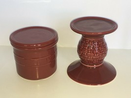 Longaberger Pint Size Pillar Candle Crock Pedestal Candle Holder Vanilla... - $33.99