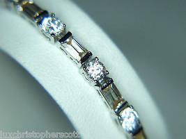 Beautiful! 925 Sterling Silver CZ & Champagne Rhinestone Bracelet - $26.41