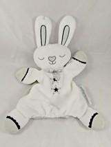 Blankets & Beyond Rabbit Plush Hand Puppet Lovey White Gray Navy Stuffed... - $9.95