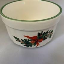Pfaltzgraff Heritage Dip Bowl Christmas Holly Berries Souffle Dish Ramekin  - $12.19