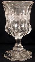 EAPG U.S. Glass Crystal Virginia or Diamond Banded Portland Footed Goble... - $39.99