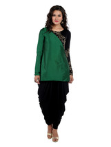 Ira Soleil green cut and sew tafetta and polyknit kurti with long churid... - $49.99