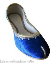 Women Shoes Indian Handmade Blue Mojari Leather Ballerinas Blue Juttii U... - £20.43 GBP