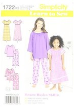 Simplicity 1722 Learn to Sew Child's and Girl's Loungewear K5 (7-8-10-12-14) - $13.48