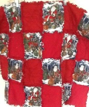 "Rag QUILT Lap Blanket Christmas Santa Flannel Cottons 30"" X 31"" New Fabric - $46.63"