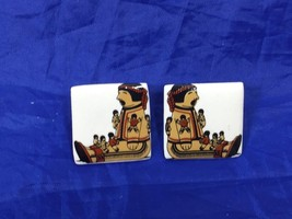 Vintage Indian Pierced Earrings Tile 25743 - $8.54