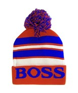 Boss Adult Size Tri-Color Striped Winter Knit Pom Beanie Hats (Red/Royal) - $12.95