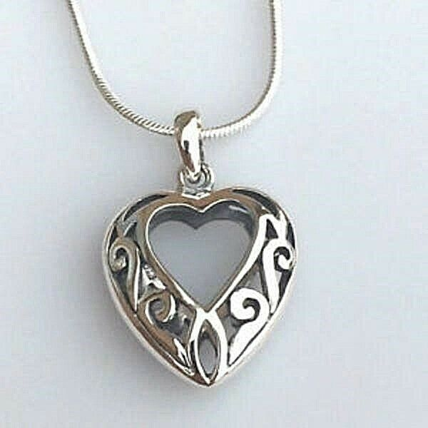 Primary image for Openwork Heart Pendant Necklace Genuine Solid 925 Sterling Silver NEW