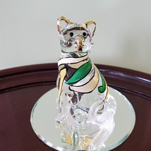 Glass Cat Figurine on mirrored base, painted with yellow green stripes, Kitty image 2